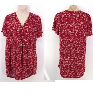 Caslon Red Paisley Print Shirt tail hem Dress 1X
